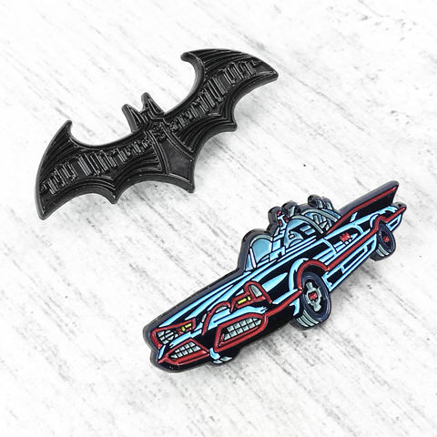 Batman,Symbol,and,Batmobile,Enamel,Pin,Set,batman, batmobile, enamel pin, flying, bat mobile, bat signal, logo, symbol, black, justice league, brooch, lapel pin, tie tack, hat pin, comics, nerd, geeky, jean jacket pin