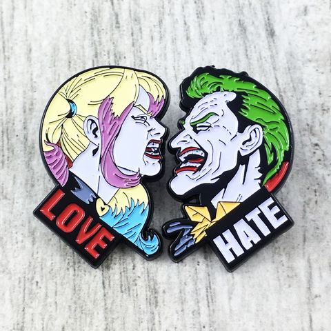 Harley,Quinn,and,Joker,Enamel,Pin,Set,harley quinn, joker, enamel pin, suicide squad, couples, heart, love, hate, character, hammer, lapel pin, tie pin, tie tack, pendant, pewter, comics, nerd, geeky, silver
