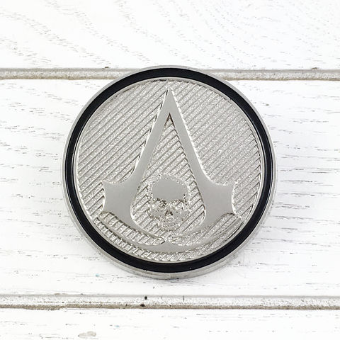 Assassin's,Creed,Black,Flag,Insignia,Lapel,Pin,assassin's creed, lapel pin, round, pin, badge, coin, power-a, gamer, geek, collectors, series 1, blind box