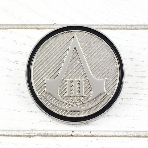 Assassin's,Creed,III,Insignia,Lapel,Pin,assassin's creed, III, 3, insignia, lapel pin, round, pin, badge, coin, power-a, gamer, geek, collectors, series 1, blind box