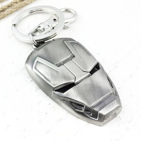 Iron,Man,Mask,Keychain,iron man, keychain, helmet, mask, head, silver, pewter, metal, comic books, geeky, avengers, super hero