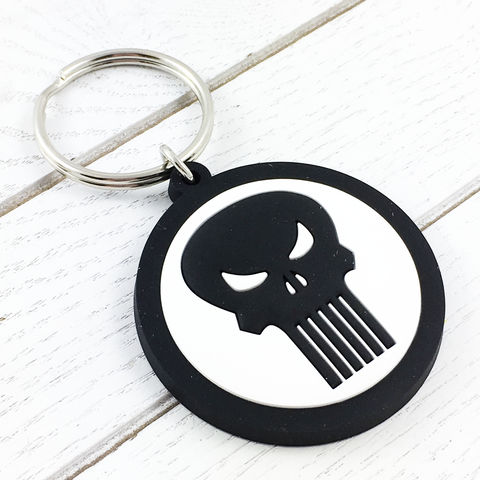 Punisher,Soft,Keychain,punisher, keychain, keyring, skull, soft, plastic, rubber, kids, key chain, comics, logo, black and white