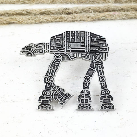 Star,Wars,AT-AT,Stainless,Steel,Pin,Star wars, at-at, pin, walker, emperial walker, stainless steel, geek, silver, large, brooch