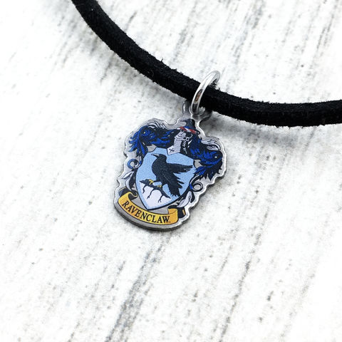 Harry,Potter,Ravenclaw,Crest,Choker,harry potter, ravenclaw, crest, house, choker, necklace, pendant, charm, silver, enamel, colour, blue, potterhead, delicate, dainty, subtle