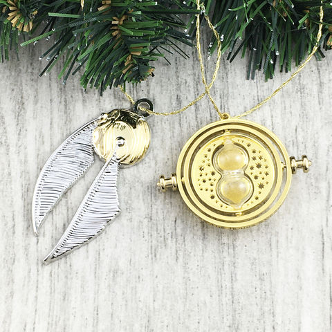 Harry,Potter,Timeturner,and,Snitch,Ornament,Set,harry potter, christmas ornament, timeturner, golden snitch, time turner, quidditch, set, metal, holiday, decoration, potterhead, bookish