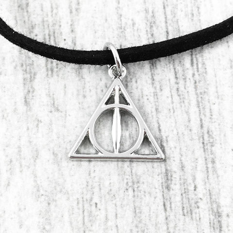 Harry,Potter,Deathly,Hallows,Choker,Necklace,deathly hallows, choker, necklace, harry potter, silver, black, charm, pendant, short, geeky