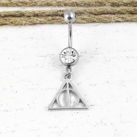 Deathly,Hallows,Belly,Button,Ring,,navel,barbell,Harry,Potter,triangle,harry potter, belly ring, deathly hallows, belly button, navel, naval, barbell, black, silver, surgical steel, triangle, hp, body jewelry, geeky, nerdy, nerd, geek chic