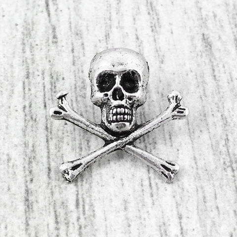 Skull,and,Crossbones,Lapel,Pin,skull pin, tie tack, tie tac, lapel pin, charm, skeleton, halloween, goth, rock, wedding, horror, skull, pirate, silver, punk, pin