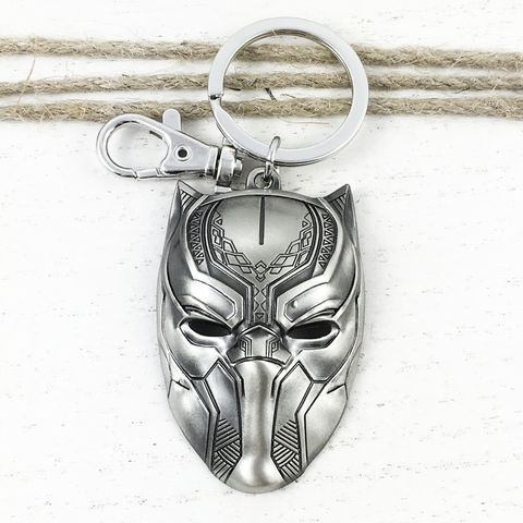 Black,Panther,Mask,Pewter,Keychain,black panther, movie, keychain, key chain, keyring, metal, large, solid, pewter
