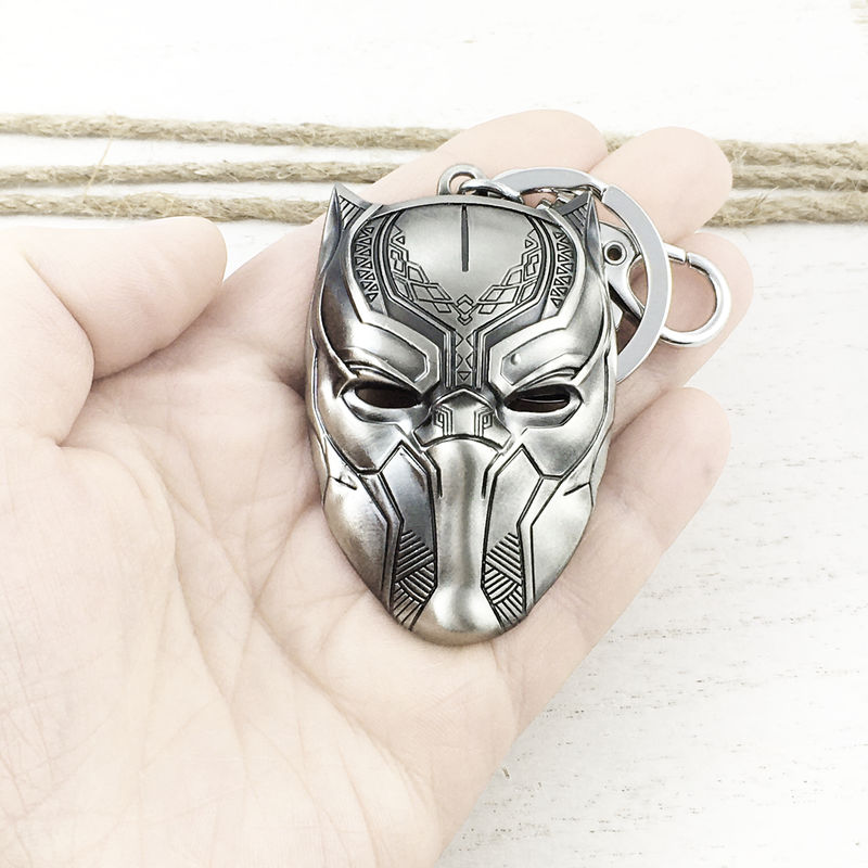 Black Panther Mask Pewter Keychain - product images  of