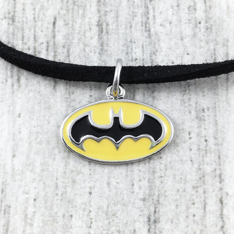 Batman,Classic,Yellow,Logo,Choker,Necklace,batman, bat symbol, choker, necklace, yellow, charm, pendant, classic logo, short necklace, small, delicate, comic book geek