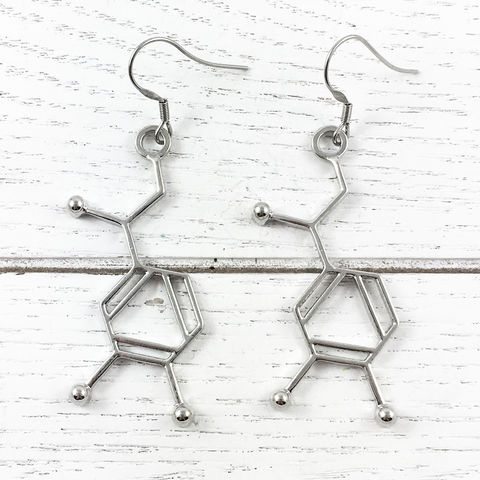 Noradrenaline,Molecule,Earrings,noradrenaline, molecule, earrings, dangle, stainless steel, science, biology, molecular structure, adrenaline, silver