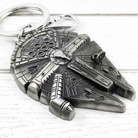 Star,Wars,Millennium,Falcon,Pewter,Keychain,star wars, millennium falcon, keychain, pewter, metal, black, semi 3D, fastest hunk of junk, kessel run, keyring, key chain, key ring