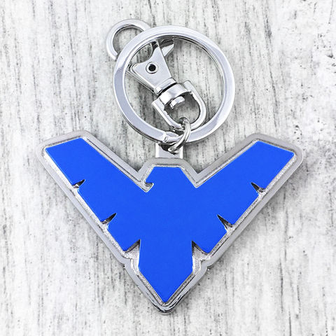 Nightwing,Enamel,Keychain,nightwing, keychain, keyring, key chain, night wing, blue, robin, dick grayson, pewter, metal, colour, comic book, geek
