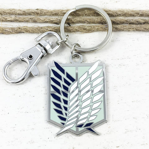 Attack,on,Titan,Survey,Corps,Keychain,attack on titan, snk, wings of freedom, scouting legion, emblem, sigil, keychain, keyring, key chain, key ring, key fob, animé