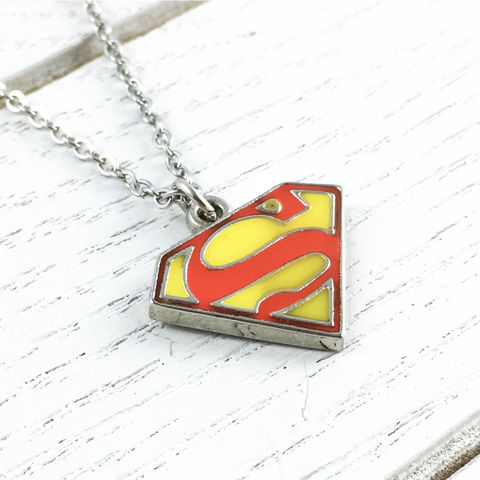 Superman,Enamel,Necklace,superman, necklace, enamel. classic, pendant, silver, colour, red, yellow, stainless steel, man of steel
