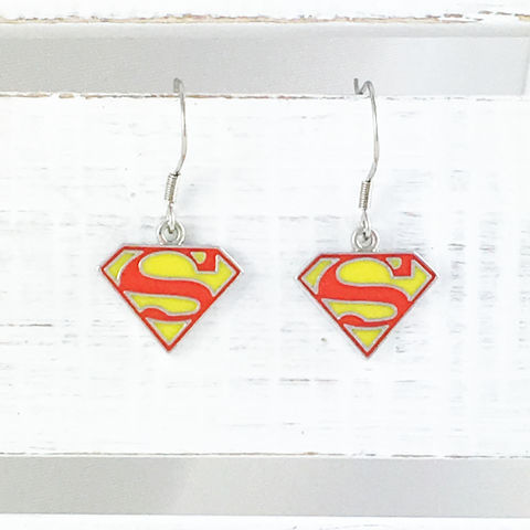 Superman,Enamel,Earrings,superman, earrings, dangle, drop, enamel. classic, pendant, silver, colour, red, yellow, stainless steel, man of steel