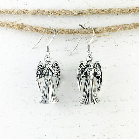 Weeping,Stone,Angel,Pewter,Earrings,weeping angel, earrings, dangle, hook, angel, doctor who, dr who, whovian, scary face, monster, pewter, metal, geek, matt smith, angel statue, crying angel, demon, don't blink, dont blink, blink and you're dead, silver, geek chic, nerdy, jewelry, jeweller