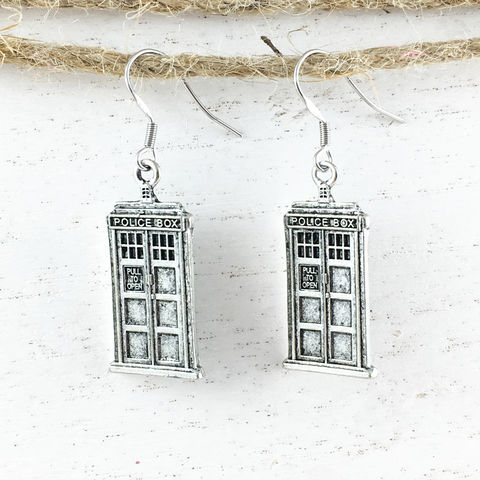 Police,Box,Pewter,Earrings,tardis jewelry, tardis earrings, dangle, tardis, silver, pewter, non-tarnish, stainless steel,  doctor who, charm, dr who, police box, space ship, time travel, sci fi, science fiction, whovian, british, phone box, geekery, geeky, geek chic