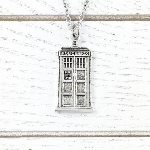 Police,Box,Necklace,tardis, doctor who, dr who, necklace, jewelry, charm, space ship, david tennant, matt smith, science fiction, sci fi, police box, cscharms, c's charms, cs charms, pewter, silver, blue box, phone box
