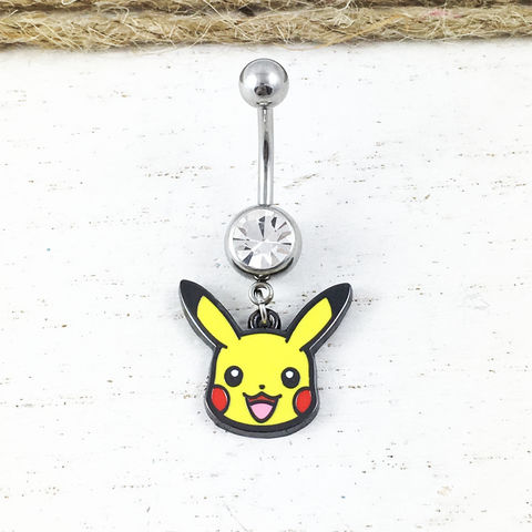 Pokémon,Pikachu,Belly,Ring,pikachu, pokemon, belly button barbell, navel ring, belly ring, belly button ring, dangle, charm, stainless steel, surgical steel, geeky, nerdy, pokemon go, yellow