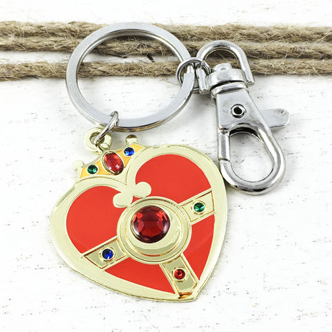 Sailor,Moon,Cosmic,Heart,Keychain,sailor moon, keychain, keyring, key chain, cosmic heart compact brooch, metal, red, gem, anime, classic