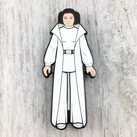 Princess,Leia,Retro,Action,Figure,Enamel,Pin,Star wars, enamel pin, official, vintage action figure, toy, princess leia, han solo, storm trooper, darth vader, chewbacca, wookie, chewie, sdcc exclusive, san diego comiccon, collectible