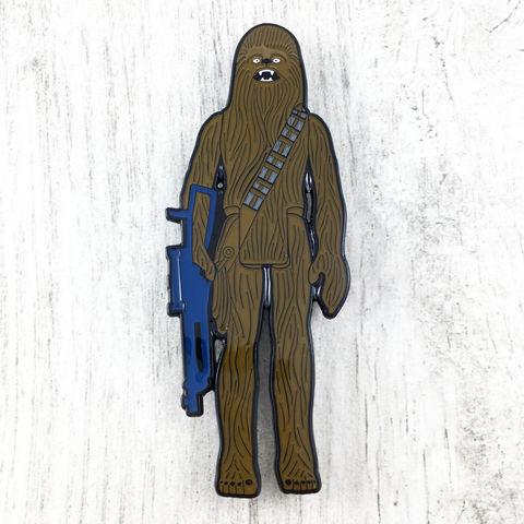 Chewbacca,Retro,Action,Figure,Enamel,Pin,Star wars, enamel pin, official, vintage action figure, toy, princess leia, han solo, storm trooper, darth vader, chewbacca, wookie, chewie, sdcc exclusive, san diego comiccon, collectible