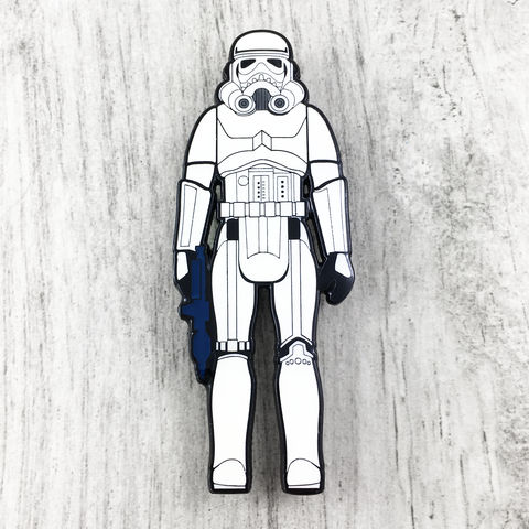 Stormtrooper,Retro,Action,Figure,Enamel,Pin,Star wars, enamel pin, official, vintage action figure, toy, princess leia, han solo, storm trooper, darth vader, chewbacca, wookie, chewie, sdcc exclusive, san diego comiccon, collectible
