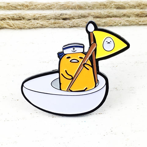Gudetama,Sailor,Enamel,Pin,gudetama, lazy egg, sailor, boat, enamel pin, kidrobot, kid robot, sanrio, opened blind box, metal