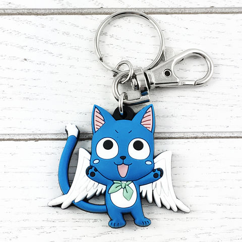 Fairy,Tail,Happy,Keychain,fairy tail, happy, keychain, key chain, keyring, blue, cat, plastic, soft, pvc, rubber