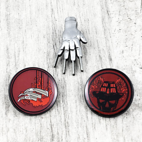 A,Nightmare,on,Elm,Street,Pin,Set,nightmare on elm street, freddy krueger, glove, hand, scratch, claws, horror, pewter pin, hat pin, lapel pin, metal pin