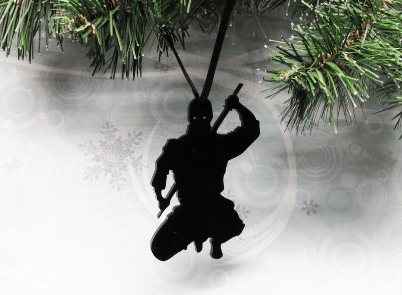 Ninja Christams Tree Ornament, decoration silhouette fun samurai black - product images
