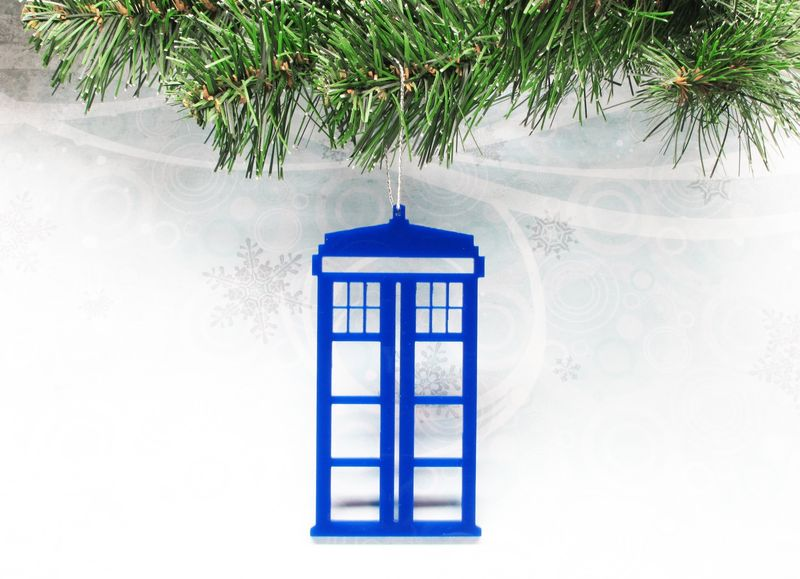 Blue Police Box Christmas Ornament, inspired by Dr. Who and the TARDIS - product images