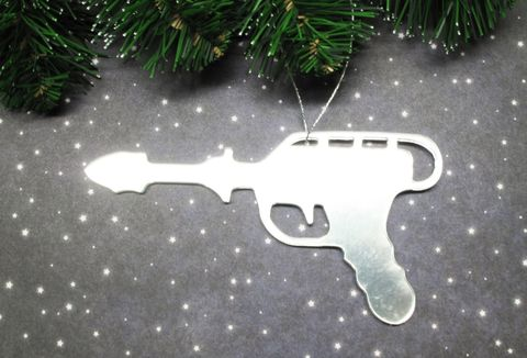 Raygun,Christmas,Tree,Ornament,,laser,blaster,phaser,geek,retro,mirror,raygun, christmas, ornament, decoration, phaser, geeky, nerdy, laser, blaster, retro, silver, mirror, acrylic, space gun, sci fi, science fiction, space opera, star trek, star wars, ray gun, xmas, wall hanging, sonic, doctor who