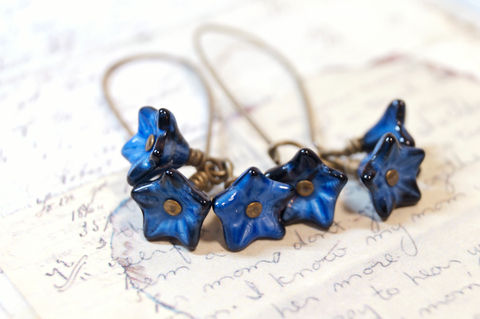 Midnight,Blue,Flower,Earrings,midnight blue earrings, royal blue earrings, blue flower earrings, czech beaded earrings, beaded earrings, brass earrings, vintage style earrings, chic earrings, stylish earrings, fashion jewelry, fashion earrings, dainty earrings, small earrings, simple