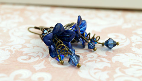 Gothic,Blue,Lucite,Flower,Earrings,,Hand,Painted,Flowers,,Wedding,Jewelry,Weddings,enameled,lucite_flowers,fairy_earrings,wedding_jewelry,bridesmaid_gifts,jewelry_gifts,something_blue,vintage_inspired,made_in_canada,flower_jewelry,spring_jewelry,flower_earrings