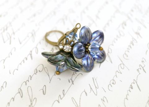 Chameleon,Azure,Lucite,Flower,Earrings,,Enameled,-,LIMITED,EDITION,Jewelry,Earrings,Dangle,lucite_flowers,painted_lucite,dyed_lucite_beads,chameleon_azure,lucite_flower,earrings,limited_edition,enameled_lucite,flower_jewelry,lucite_jewelry,lucite_earrings,flower_earrings,fairy_earrings