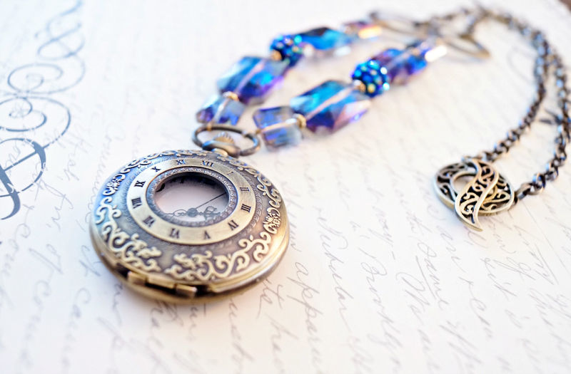 Dazzling Purple and Blue Crystal Pocket Watch Necklace, Feminine Steampunk Necklace - product image