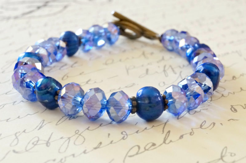 Blue Crystal and Pearl Bracelet, Vintage Style - product image