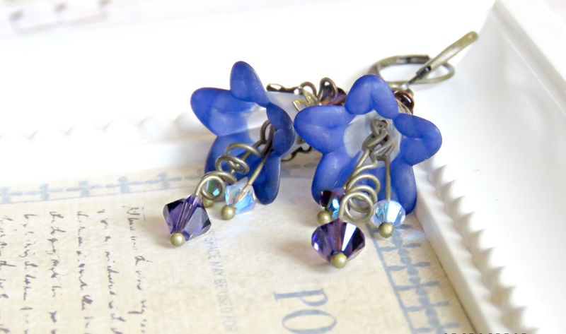 Midnight Blue Lucite Flower Earrings, Blue Earrings, Vintage Chic Earrings with Swarovski Crystals - product image