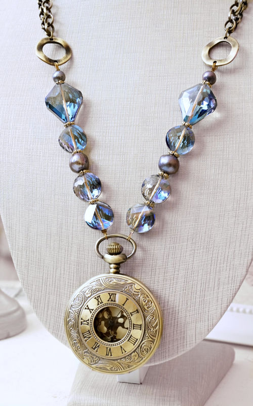 Purple and Blue Lariat Pocket Watch Necklace, Steampunk Necklace, Statement Necklace - product image