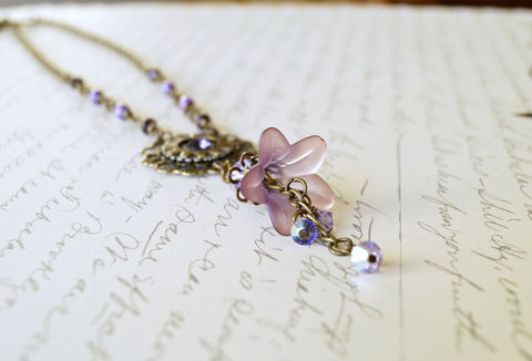 Purple,Lucite,Flower,Necklace,,Watch,Gear,Vintage,Style,Necklace,Jewelry,lucite_flowers,flower_choker,gear_necklace,watch_gear_necklace,watch_part_necklace,steampunk_necklace,flower_steampunk,womens_steampunk,lucite_necklace,flower_necklace,lucite_jewelry,steampunk_jewelry,feminine_steampunk