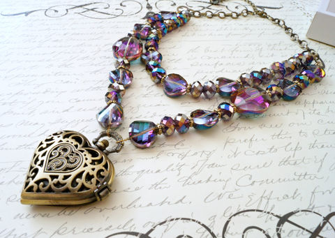 Deep,Purple,Vitrail,Steampunk,Pocket,Watch,Necklace,Jewelry,statement_necklace,crystal_necklace,large_necklace,pocket_watch,watch_necklace,steampunk,steampunk_fashion,purple_necklace,glam_necklace,heart_necklace,sahetah's_jewelry,theartisangroup