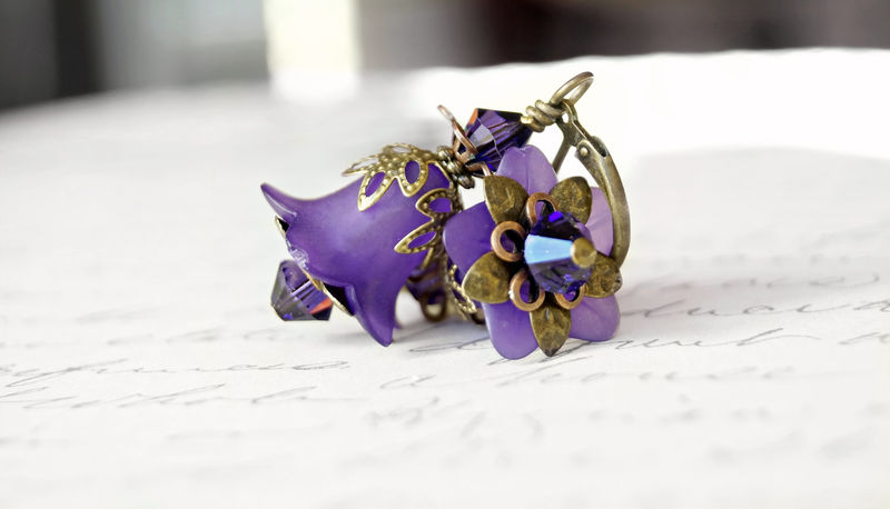 Purple Flower Earrings, Lucite Flower Earrings, Vintage Style Earrings - product image