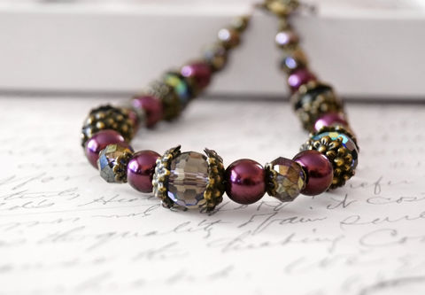 Crystal,and,Pearl,Vintage,Style,Bracelet,,Burgundy,Purple,Elegance,Jewelry,Bracelet,Beaded,purple_bracelet,red_bracelet,vintage_style,brass_bracelet,floral_bracelet,gift_for_her,womens_bracelet,chic_bracelet,pearl_bracelet,sahetahs_jewelry,crystal_bracelet