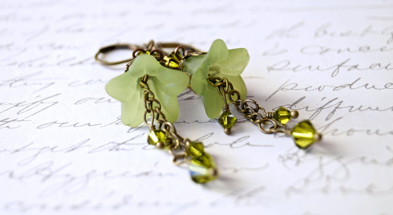 Apple Green Lucite Flower Earrings - product image