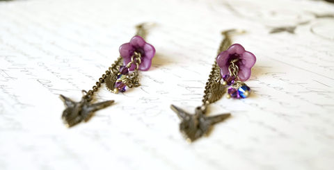 Hand Dyed Purple Fairy Lucite Flower Earrings