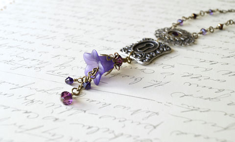 Hand,Dyed,Purple,Lucite,Flower,Necklace,handmade necklace, lucite flower necklace, flower necklace, purple necklace, purple flower necklace, crystal necklace, lock and key necklace, vintage style necklace, chic necklace, cottage chic necklace, brass necklace, stylish necklace, handmade necklace