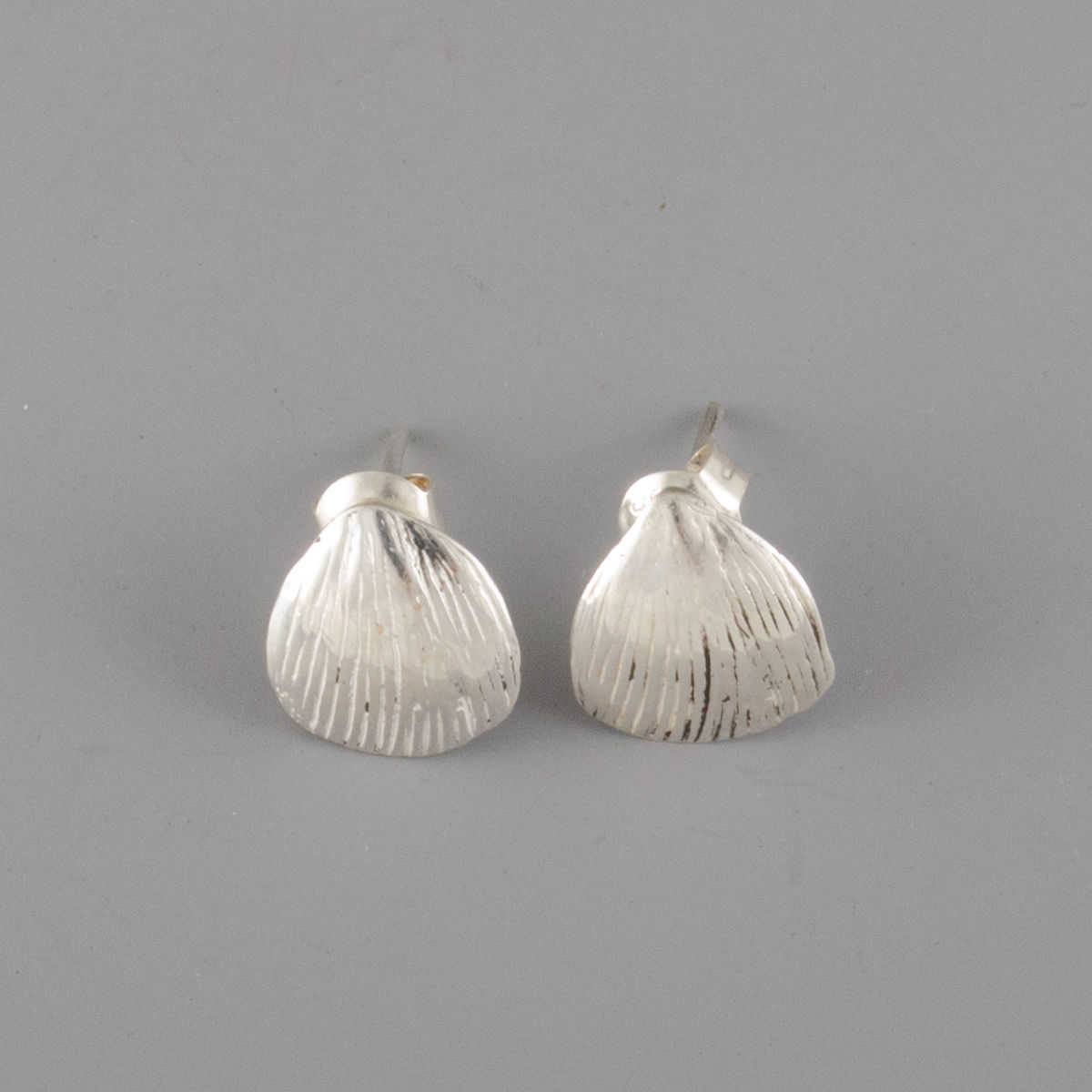 Sterling Silver Pangolin Scale Stud Earrings - product image